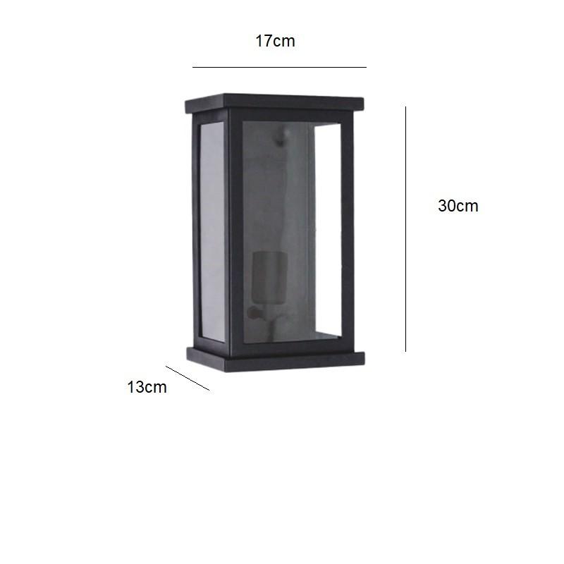 Arandela Externa Retangular 30cm Malaga Vidro Transparente Preta