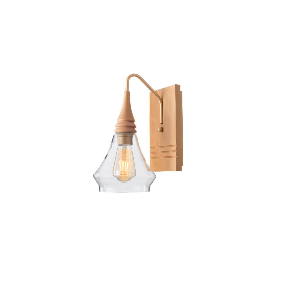 Arandela Flow Piramidal 1 Lamp Castanho Madelustre