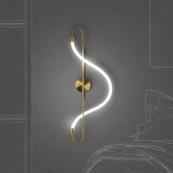 Arandela Led 7w 2700k Metal Dourado e Silicone 65cm Mais Luz