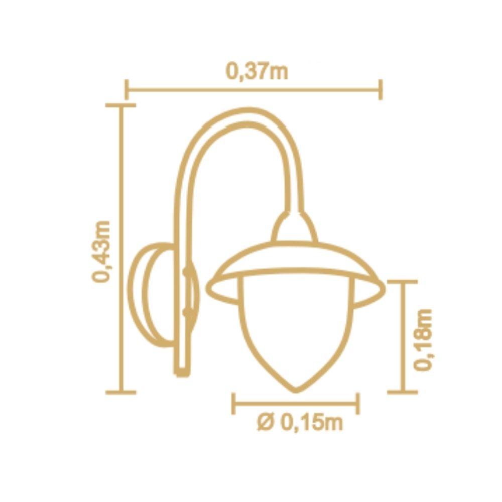 Arandela Veneza 43cm 1 Lamp Preto Madelustre