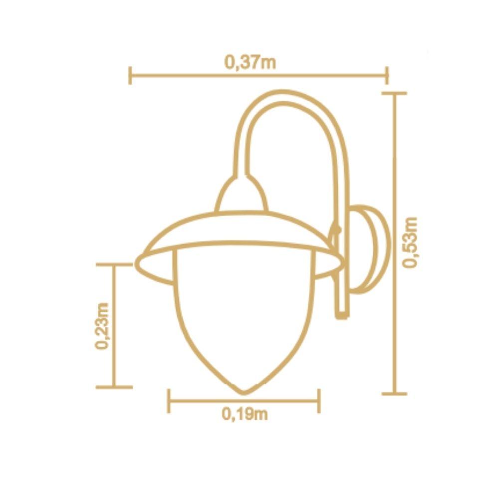 Arandela Veneza 53cm 1 Lamp Preto Madelustre