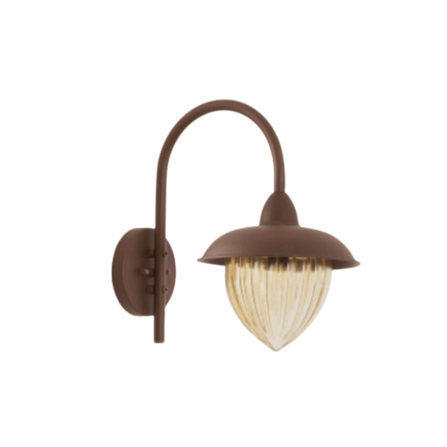 Arandela Veneza 43cm 1 Lamp Vidro Ambar Marrom Madelustre