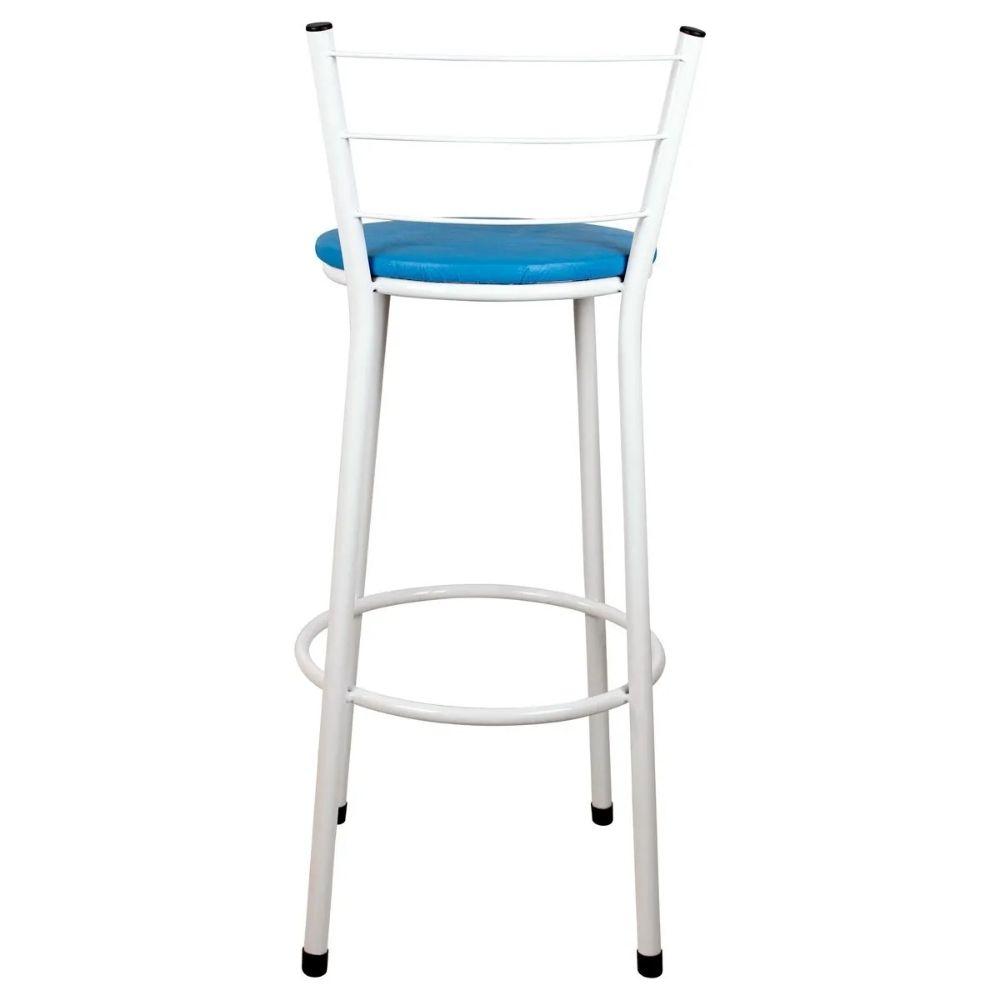 Banqueta Alta Para Cozinha Branca Epoxi Assento Azul