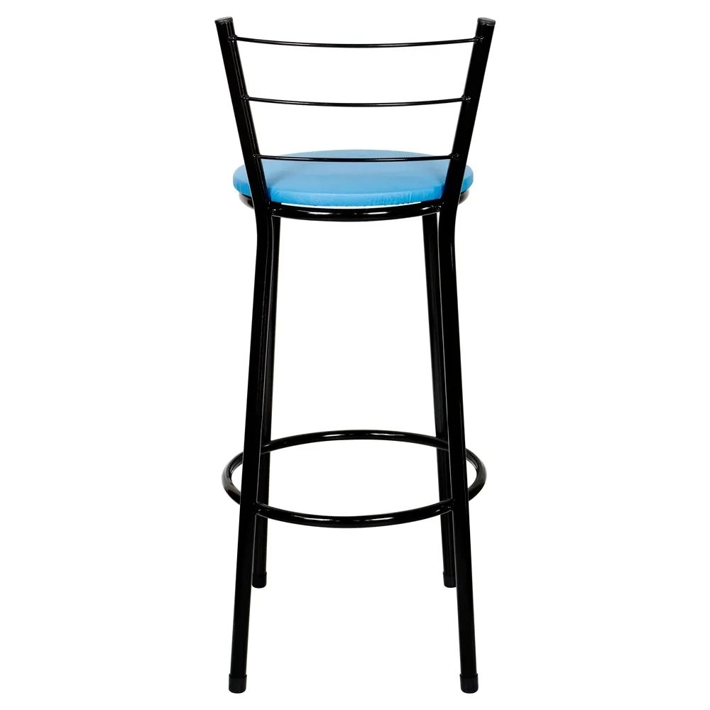 Banqueta Alta Para Cozinha Preta Epoxi Assento Azul