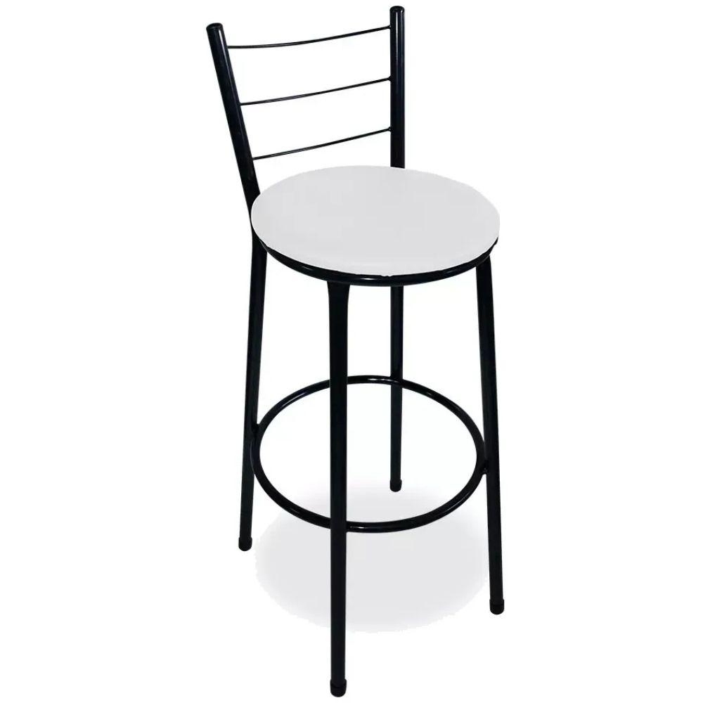 Banqueta Alta Para Cozinha Preta Epoxi Assento Branco
