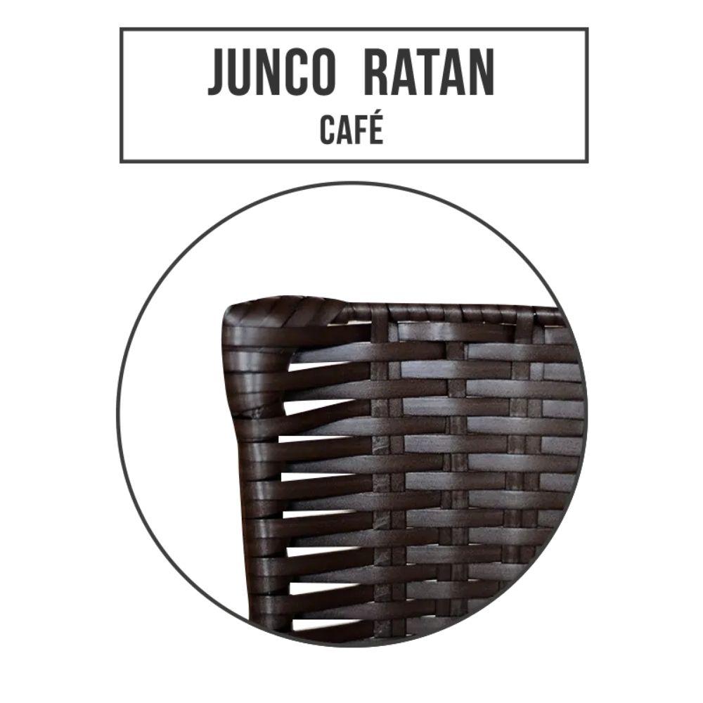 Banqueta Alta Ratan Hawai Preta Café