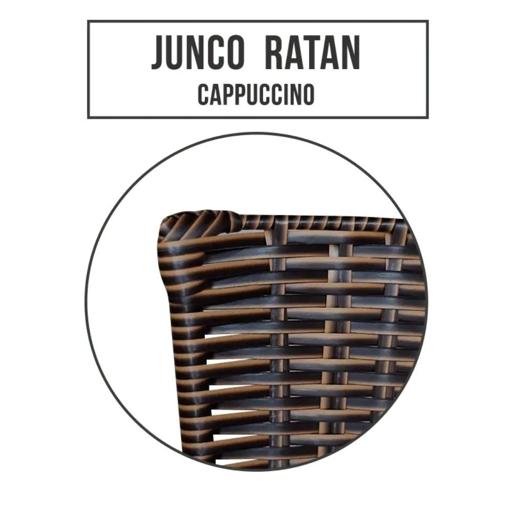 Banqueta Alta Ratan Hawai Preta Cappuccino