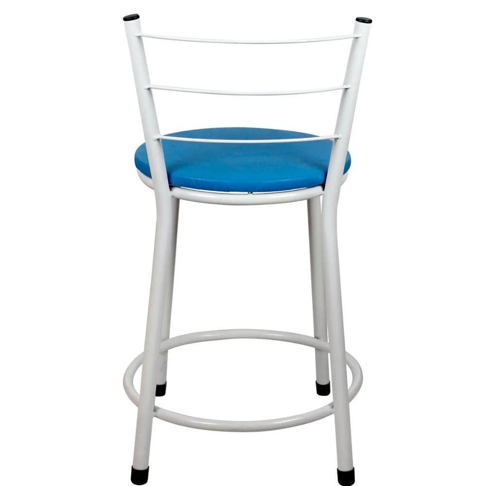 Banqueta Baixa Para Cozinha Branca Assento Azul