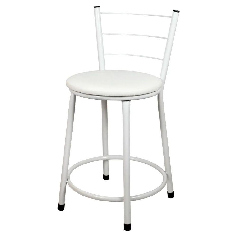 Banqueta Baixa Para Cozinha Branca Assento Branco