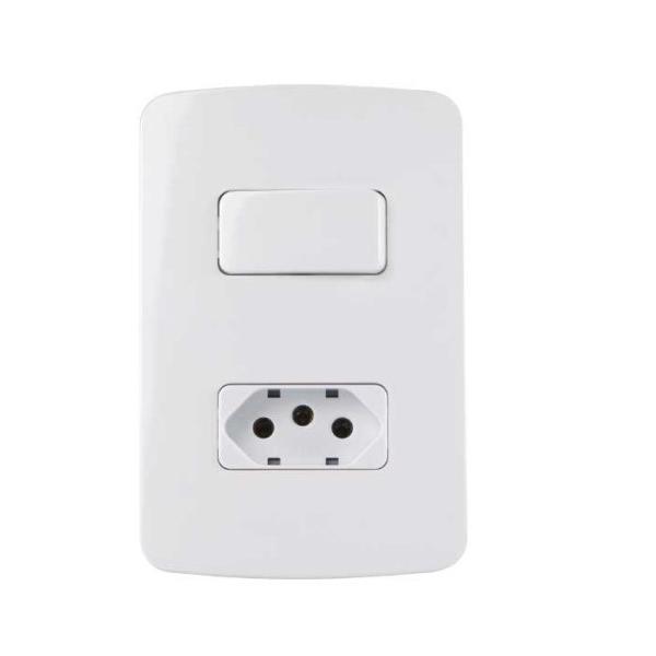 Conjunto 1 Interruptor Simples + Tomada 10A 4x2 B3 MarGirius