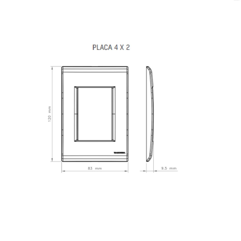 Espelho Placa 4x2 2 Postos Juntos Com Suporte Tramontina Liz