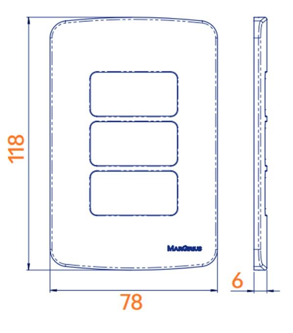 Conjunto 2 Interruptor Paralelo 4x2 10A B3 MarGirius