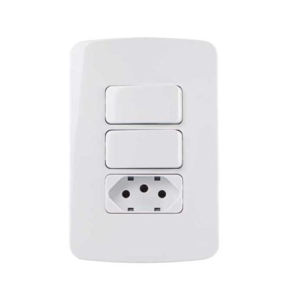 Conjunto 2 Interruptor Paralelo + Tomada 10A 4x2 B3 MarGirius