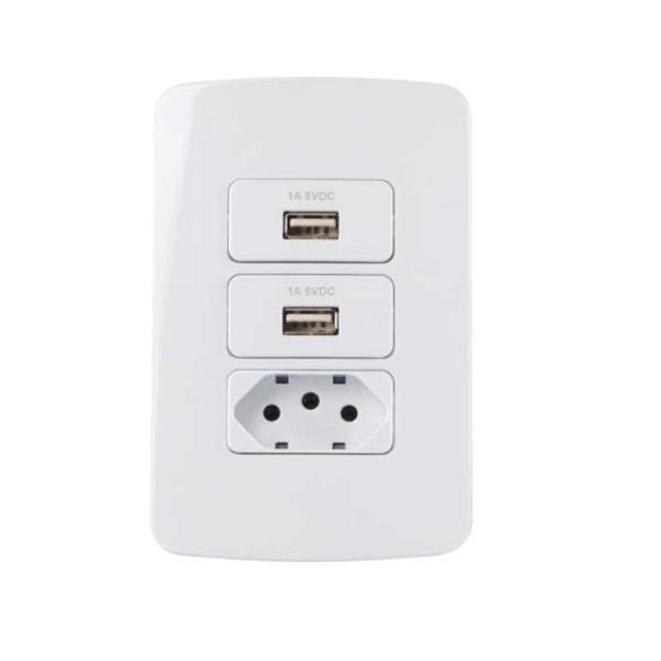 Conjunto 2 Tomada Carregador USB + Tomada 2P+T 10A B3 MarGirius