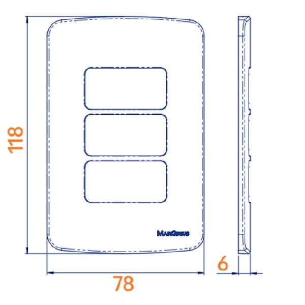 Conjunto 3 Interruptor Paralelo 10A 4x2 B3 MarGirius