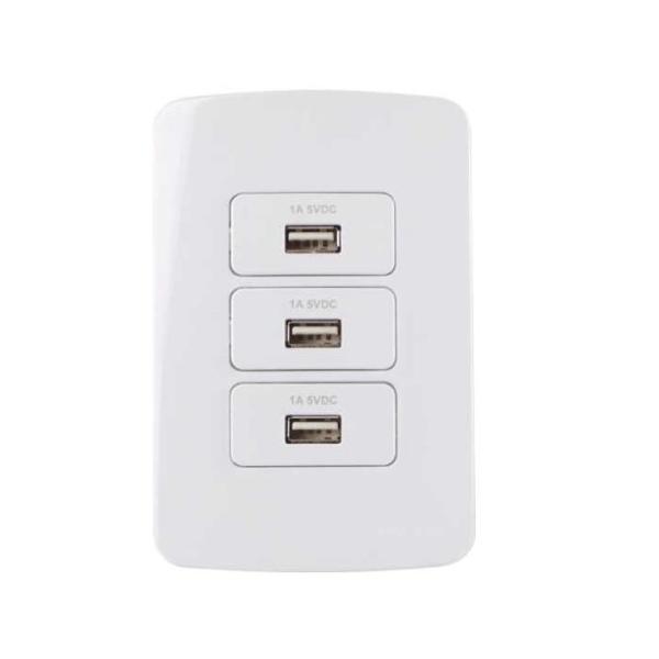 Conjunto Interruptor 3 Tomada Carregador USB 1A 4x2 B3 MarGirius
