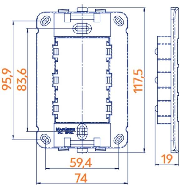 Conjunto Interruptor Paralelo + Tomada 10A 4x2 B3 MarGirius