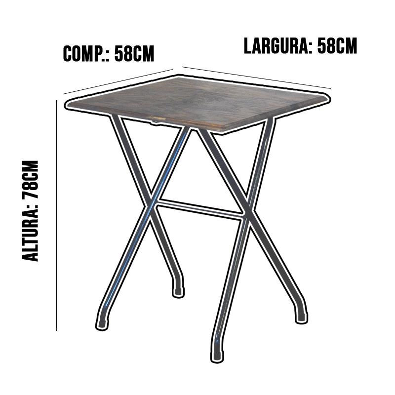 Jogo Mesa Dobrável Bar 58x58cm Com 2 Cadeiras Madeira Imbuia