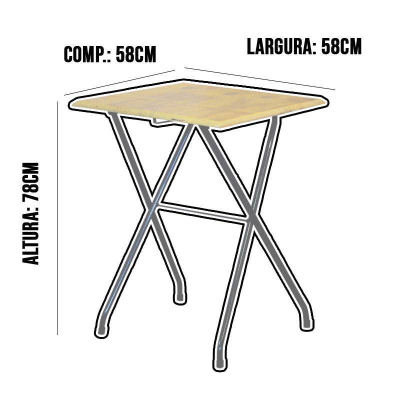 Jogo Mesa Dobrável Bar 58x58cm Com 2 Cadeiras Madeira Natural