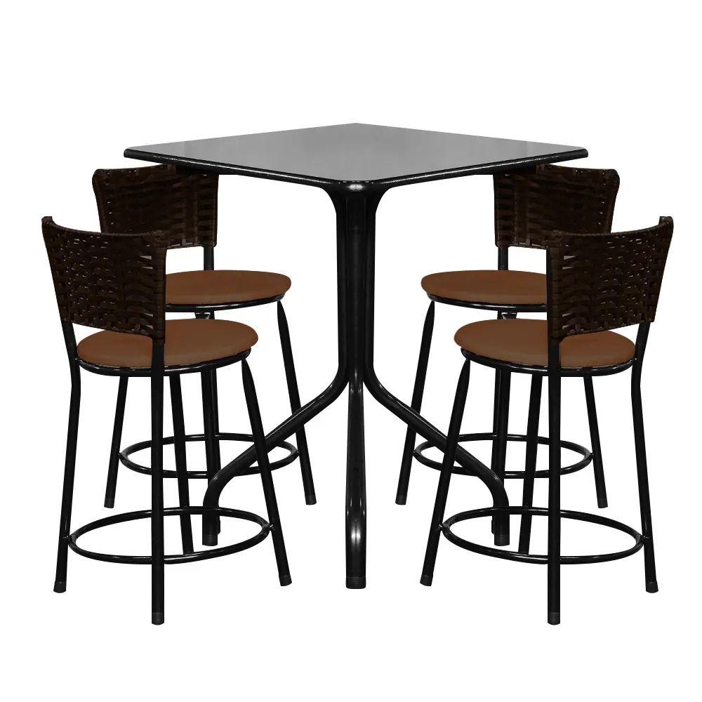Conjunto Mesa Quadrada 68x68cm Preta Com 4 Banquetas Café