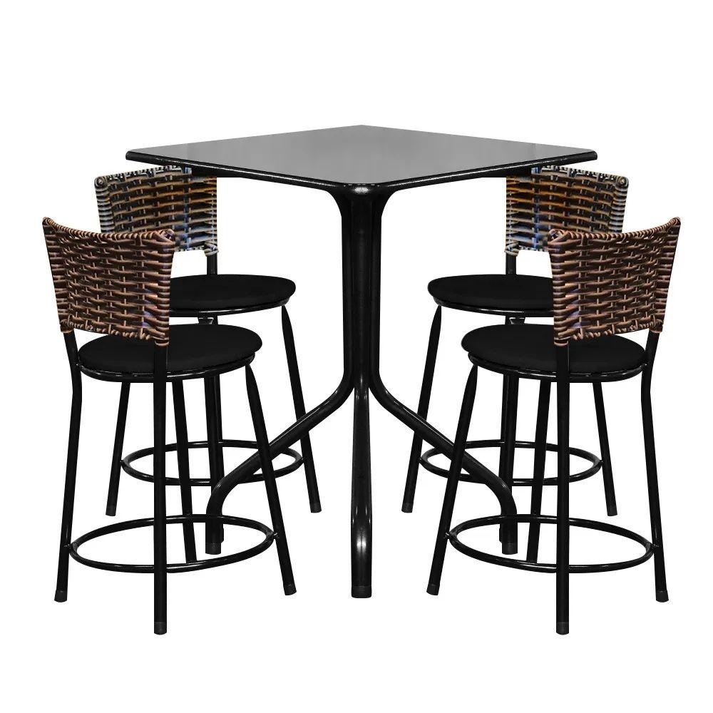 Conjunto Mesa Quadrada 68x68cm Preta Com 4 Banquetas Cappuccino