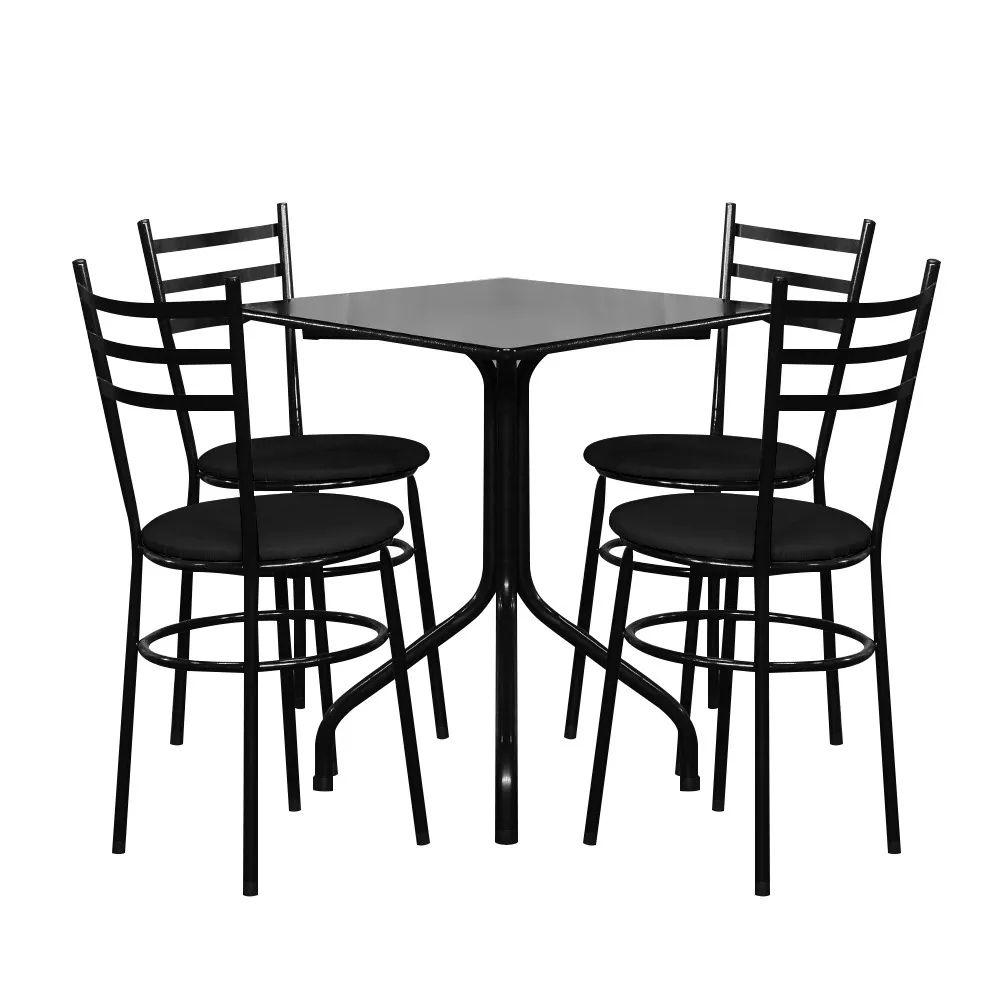 Conjunto Mesa Quadrada 68x68cm Preta com 4 Cadeiras Epoxi