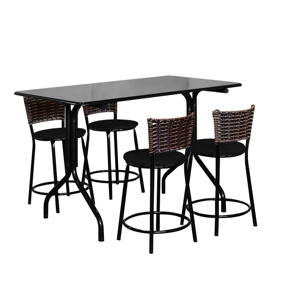 Conjunto Mesa Retangular 70x120cm Preta Com 4 Banquetas Cappuccino