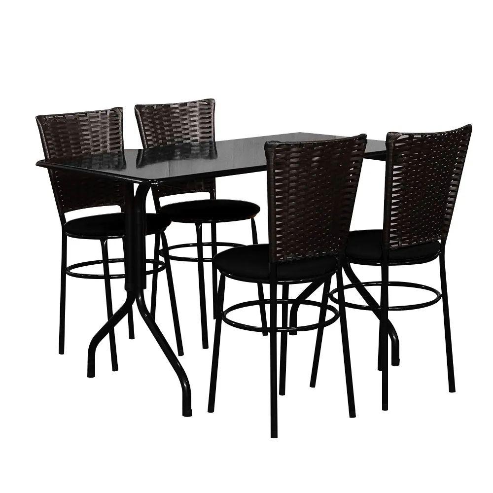 Conjunto Mesa Retangular 70x120cm Preta Com 4 Cadeiras Café