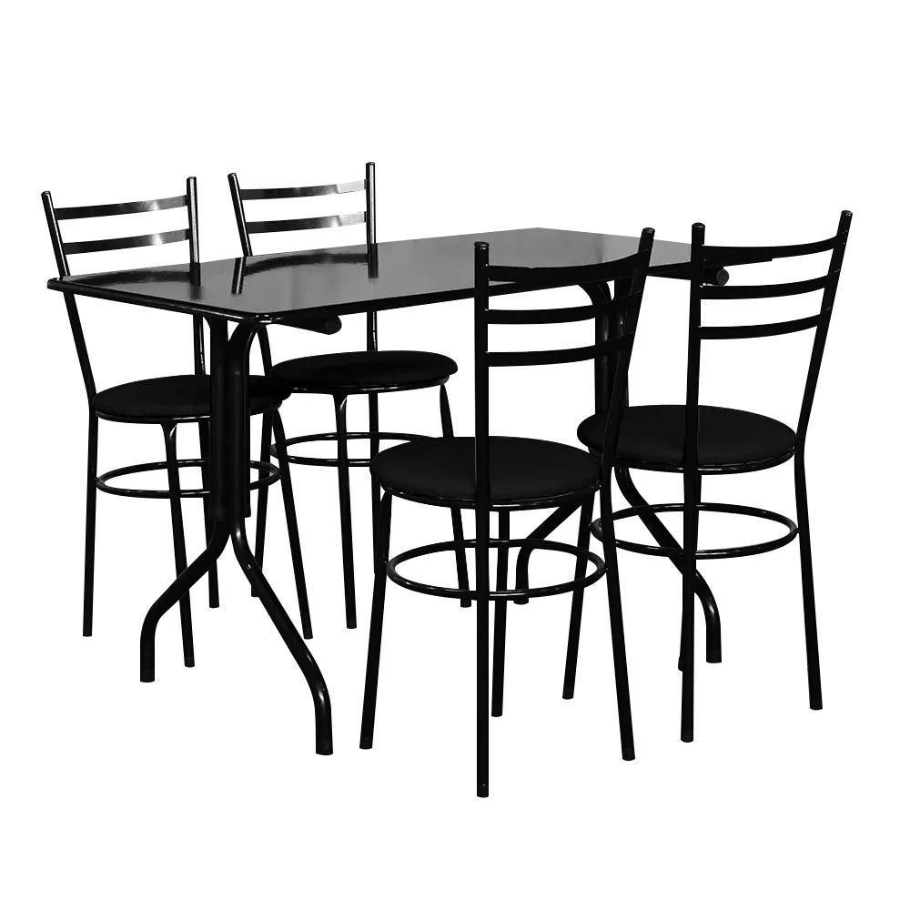 Conjunto Mesa Retangular 70x120cm Preta Com 4 Cadeiras Epoxi