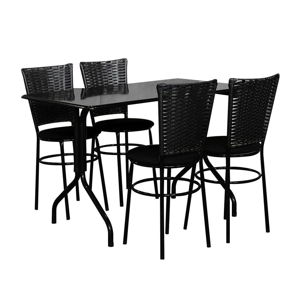 Conjunto Mesa Retangular 70x120cm Preta Com 4 Cadeiras Preta