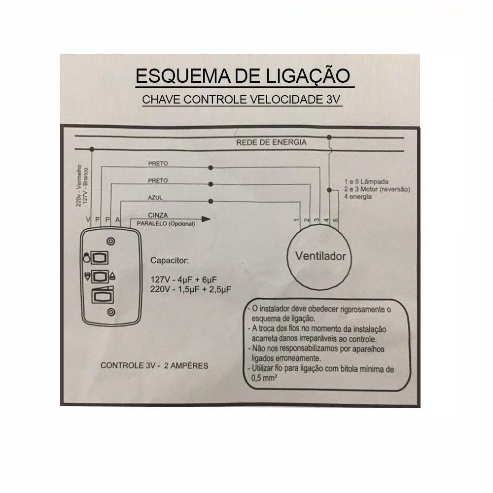 Controle Chave de Parede Para Ventilador Teto com Capacitor 127v
