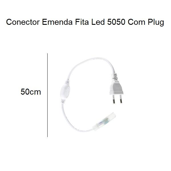 Fita Led 5050 Branco Frio 25 Metros 14w/m Com Conector 127v