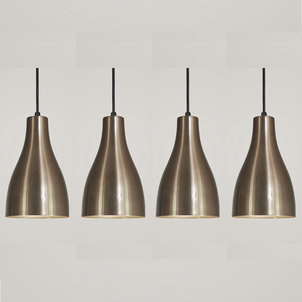 Kit 4 Luminária Pendente Garrafa 20x13.5cm Bronze - TKS