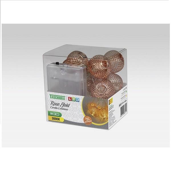 Cordão Luminoso Bola Rose Gold 10 Leds Pilha 3000k Taschibra