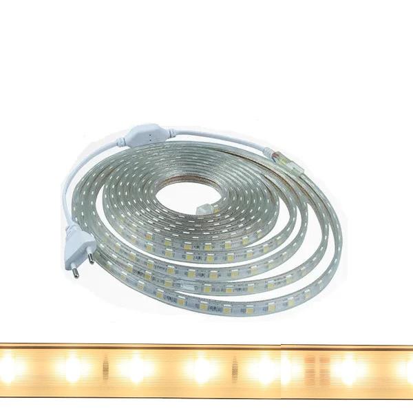 Fita Led 5050 Branco Quente 25 Metros 14w/m Com Conector 127v