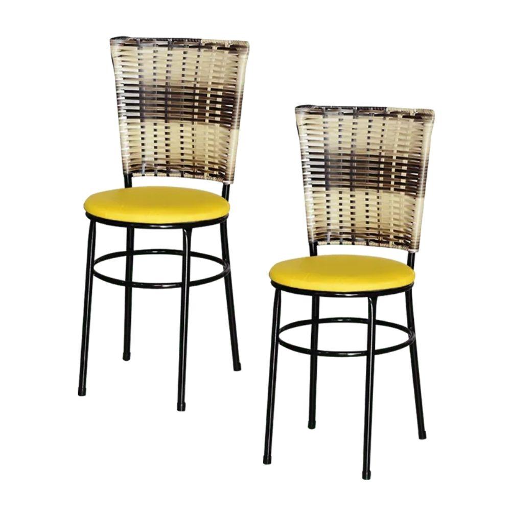 Jogo 2 Cadeiras Preta Para Cozinha Hawai Cappuccino Premium