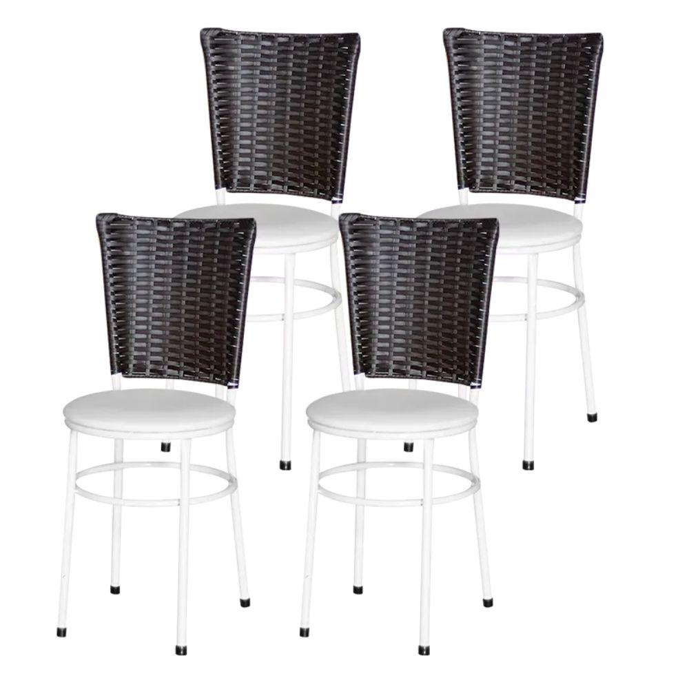 Jogo 4 Cadeiras Para Cozinha Branca Hawai Café