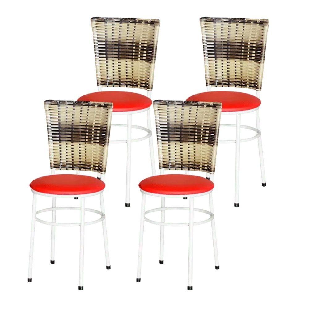 Jogo 4 Cadeiras Para Cozinha Branca Hawai Cappuccino Premium