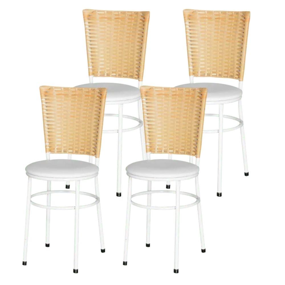 Jogo 4 Cadeiras Para Cozinha Branca Hawai Palha