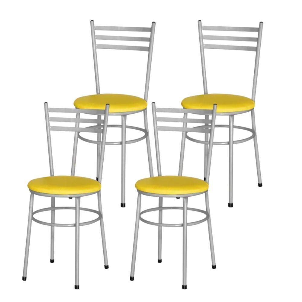 Jogo 4 Cadeiras Para Cozinha Epoxi Cinza