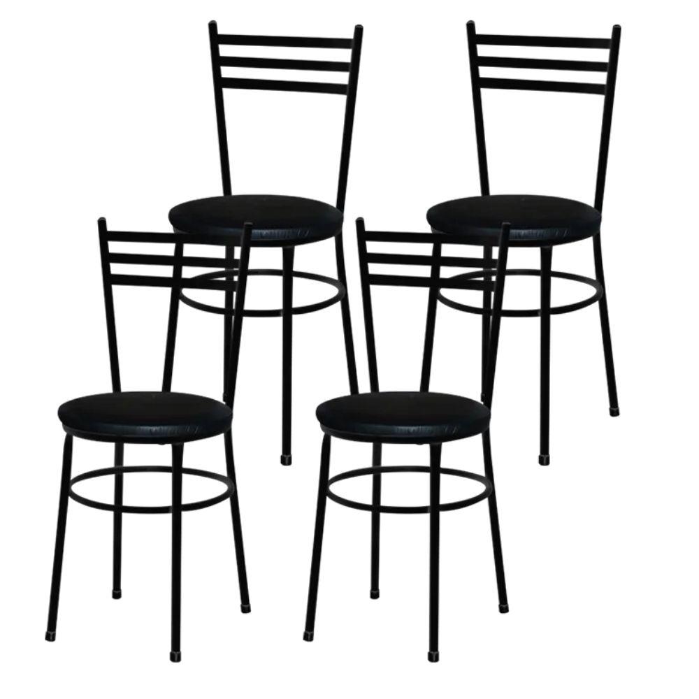 Jogo 4 Cadeiras Para Cozinha Epoxi Preta