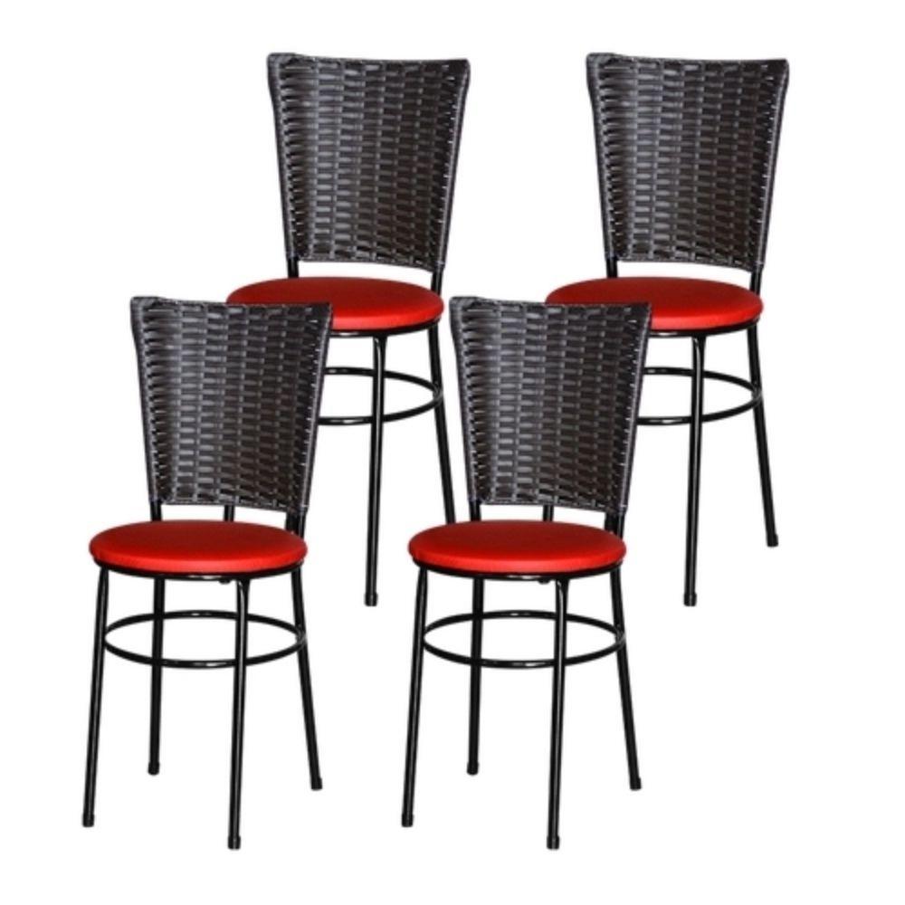 Jogo 4 Cadeiras Para Cozinha Preta Hawai Café