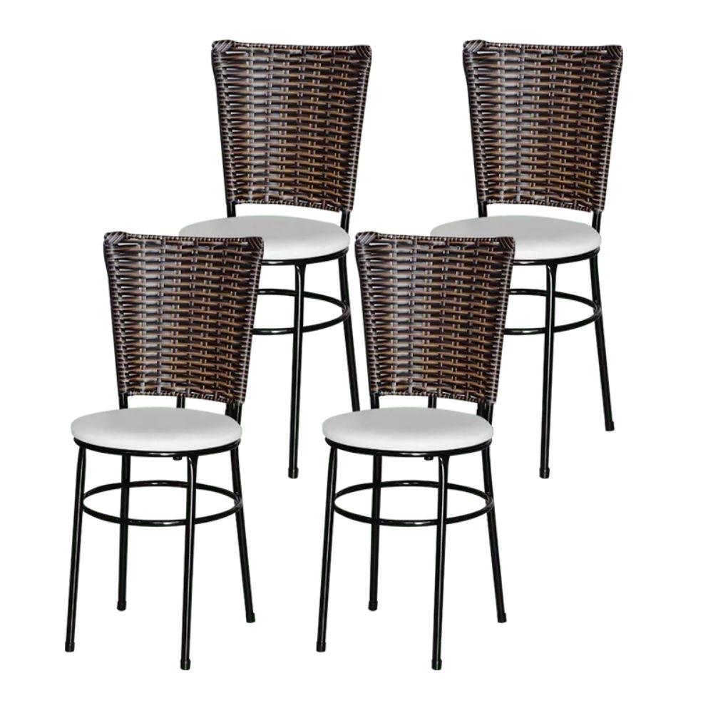 Jogo 4 Cadeiras Para Cozinha Preta Hawai Cappuccino