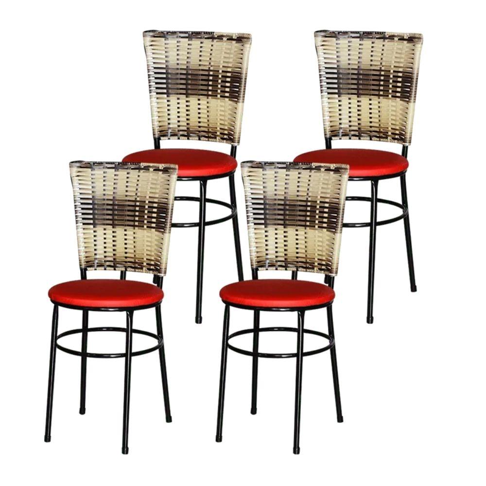 Jogo 4 Cadeiras Para Cozinha Preta Hawai Cappuccino Premium