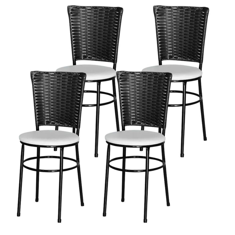 Jogo 4 Cadeiras Para Cozinha Preta Hawai Preta