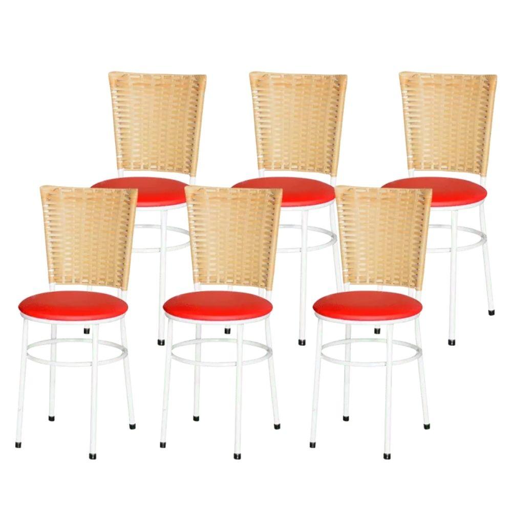 Jogo 6 Cadeiras Para Cozinha Branca Hawai Palha