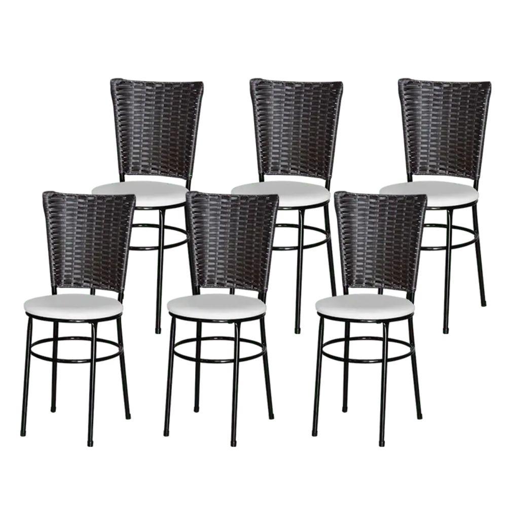 Jogo 6 Cadeiras Para Cozinha Preta Hawai Café