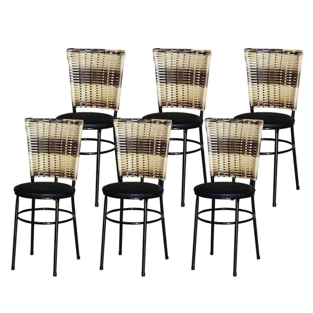 Jogo 6 Cadeiras Para Cozinha Preta Hawai Cappuccino Premium