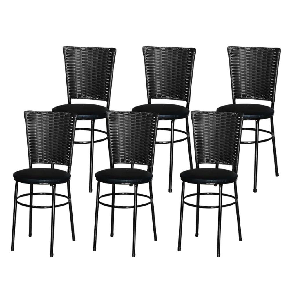 Jogo 6 Cadeiras Para Cozinha Preta Hawai Preta