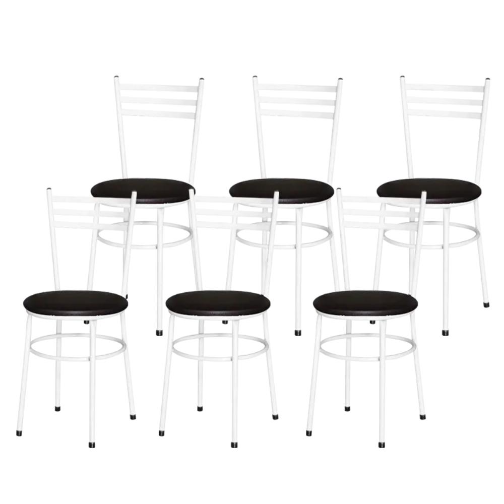 Jogo 6 Cadeiras Pra Cozinha Epoxi Branca